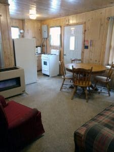 North Twin Lake cabin 2 living room and kitchen.